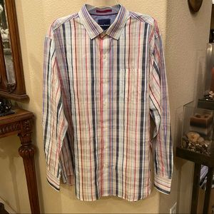 NWT~TOMMY BAHAMA Multi-Color Striped Shirt-Large